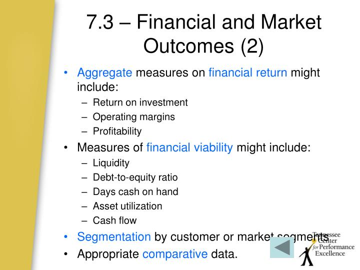 7.3 – Financial and Market Outcomes (2)