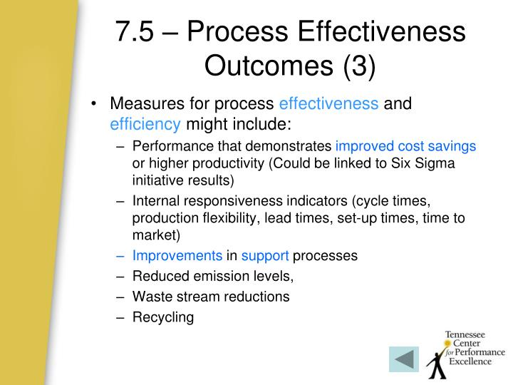 7.5 – Process Effectiveness Outcomes (3)