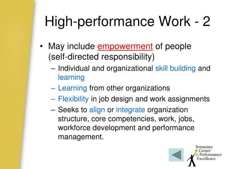 High-performance Work - 2