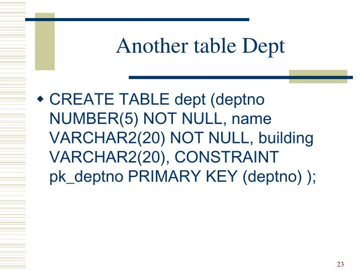 Another table Dept