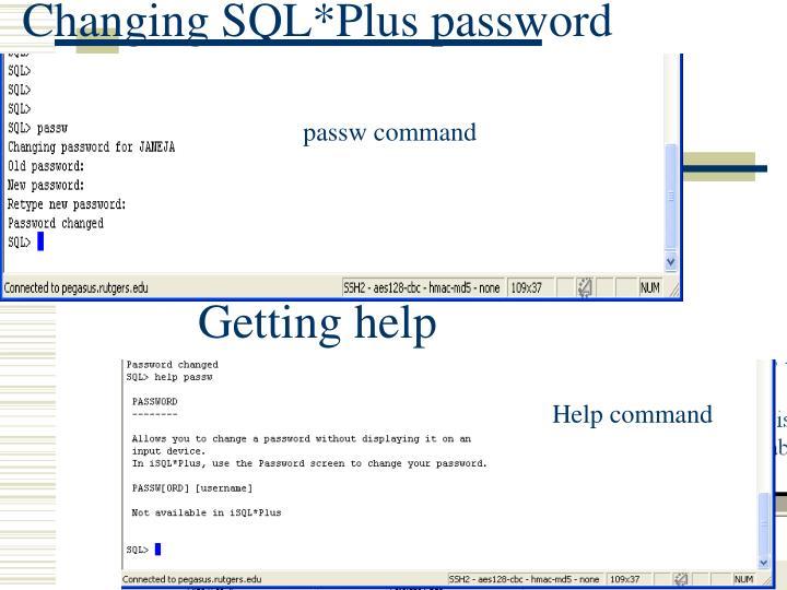 Changing SQL*Plus password