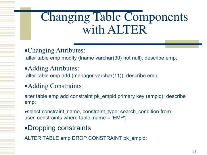 Changing Table Components with ALTER