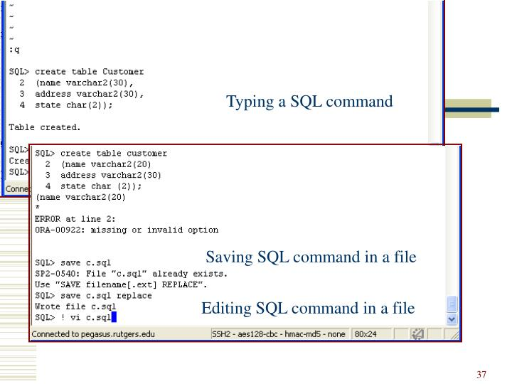 Typing a SQL command