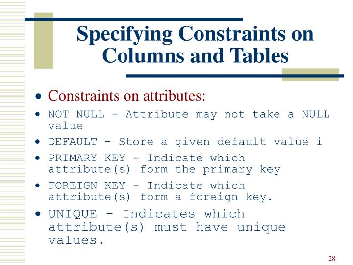 Specifying Constraints on Columns and Tables