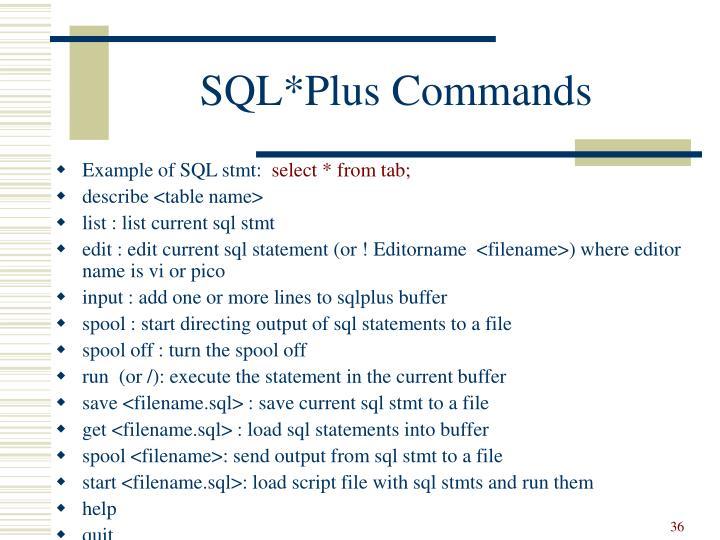 SQL*Plus Commands