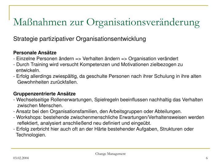 Maßnahmen zur Organisationsveränderung
