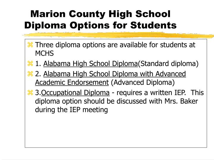 Three diploma options are available for students at MCHS