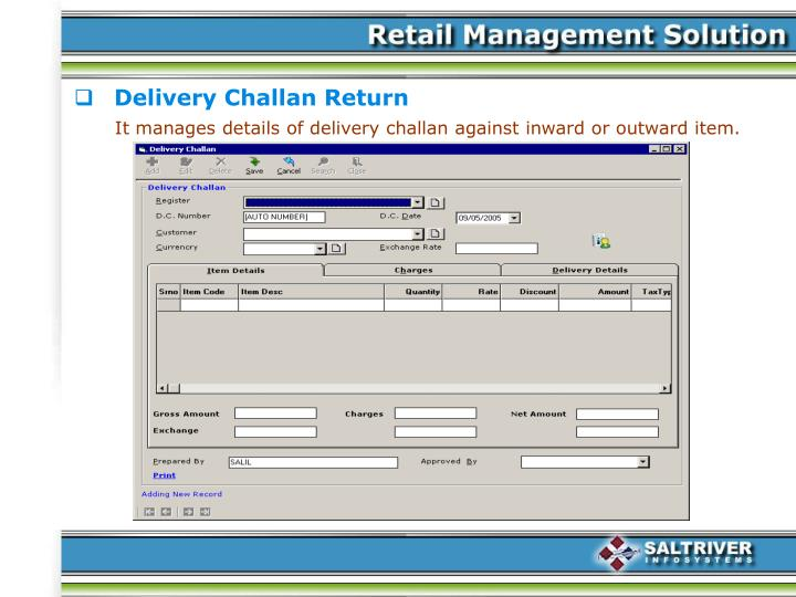 Delivery Challan Return