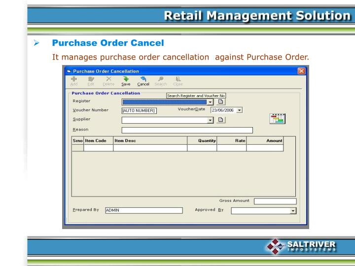 Purchase Order Cancel