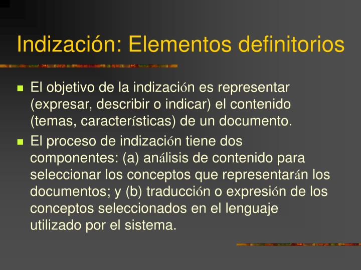 Indización: Elementos definitorios