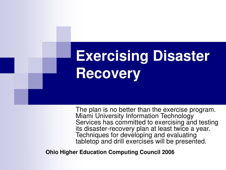exercising disaster recovery n.