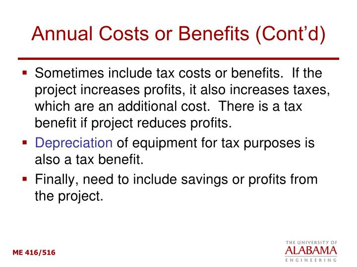 Annual Costs or Benefits (Cont'd)