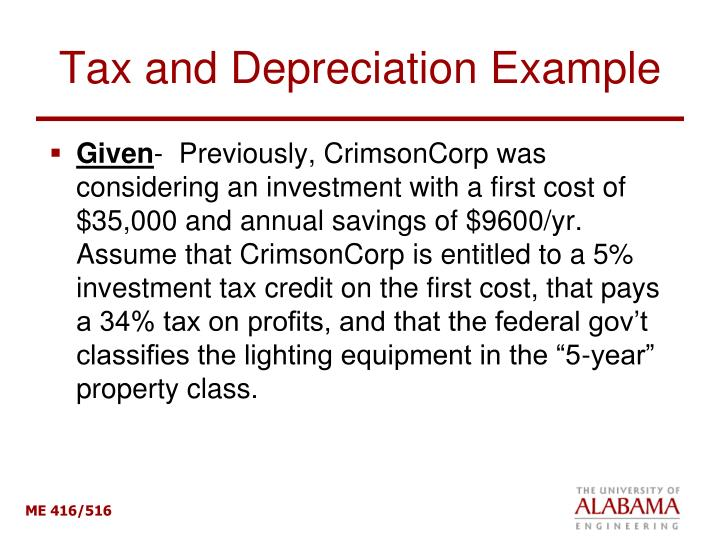 Tax and Depreciation Example