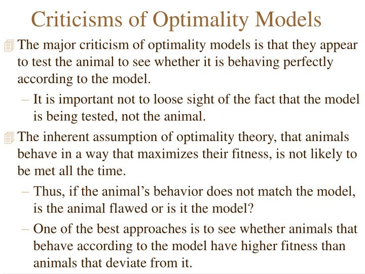 Criticisms of Optimality Models
