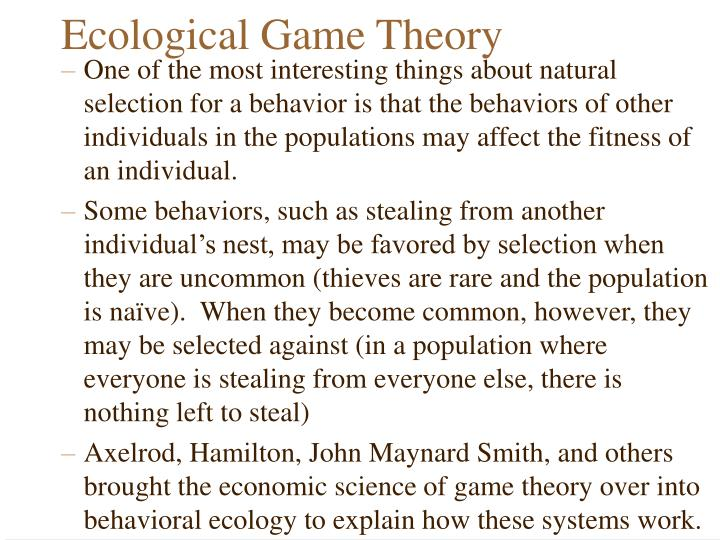 Ecological Game Theory
