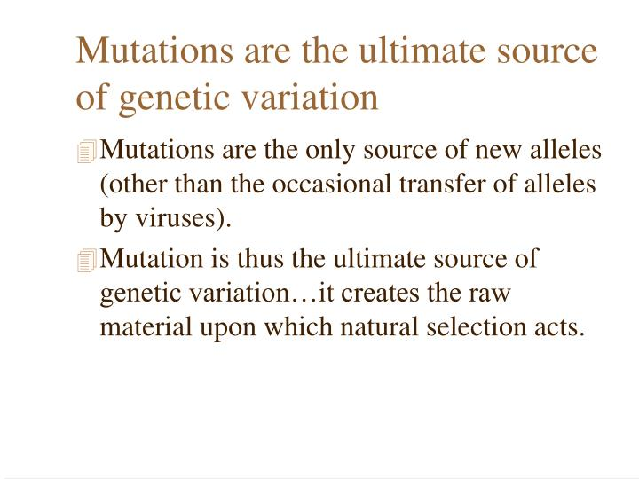 Mutations are the ultimate source of genetic variation