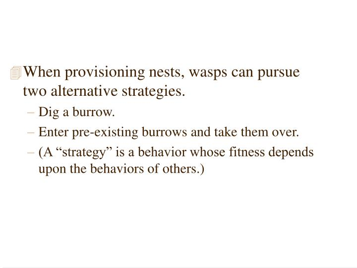 When provisioning nests, wasps can pursue two alternative strategies.