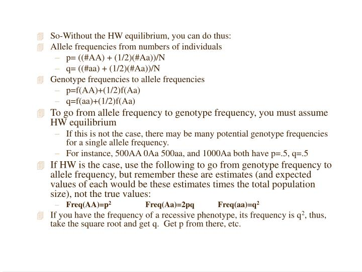So-Without the HW equilibrium, you can do thus: