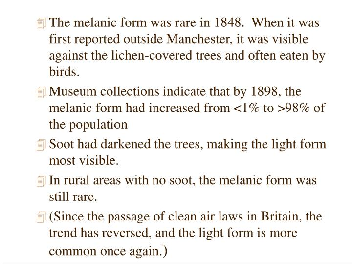 The melanic form was rare in 1848.  When it was first reported outside Manchester, it was visible against the lichen-covered trees and often eaten by birds.