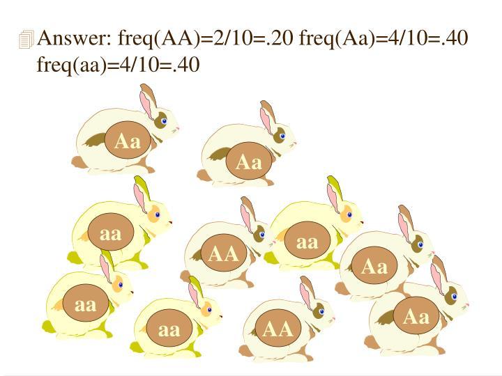 Answer: freq(AA)=2/10=.20 freq(Aa)=4/10=.40 freq(aa)=4/10=.40