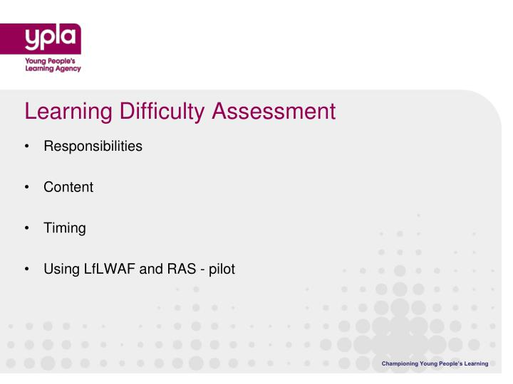 Learning Difficulty Assessment