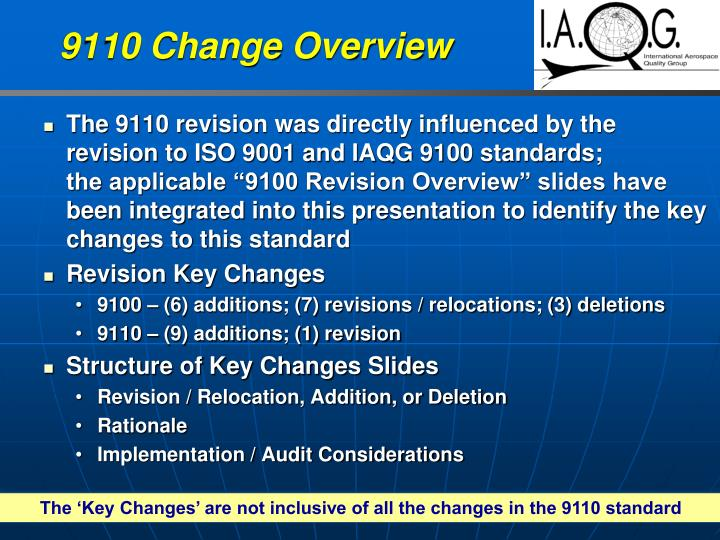 9110 Change Overview