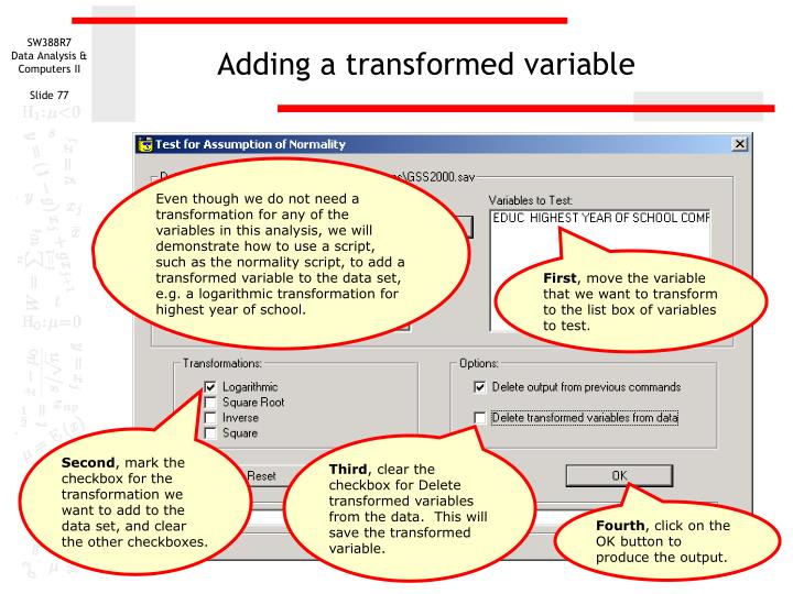Adding a transformed variable