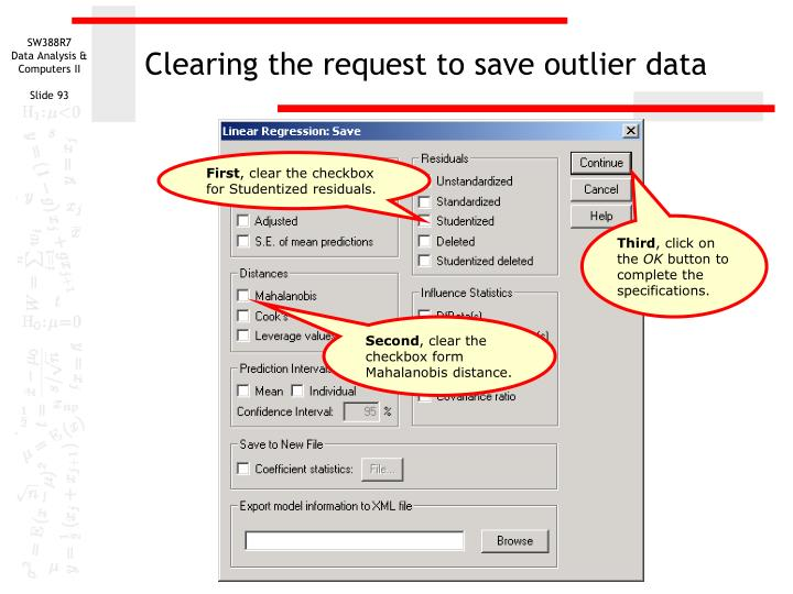 Clearing the request to save outlier data