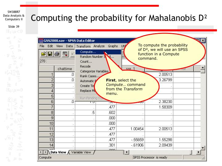 Computing the probability for Mahalanobis D²