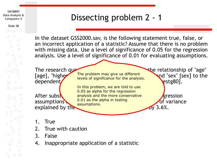 Dissecting problem 2 - 1