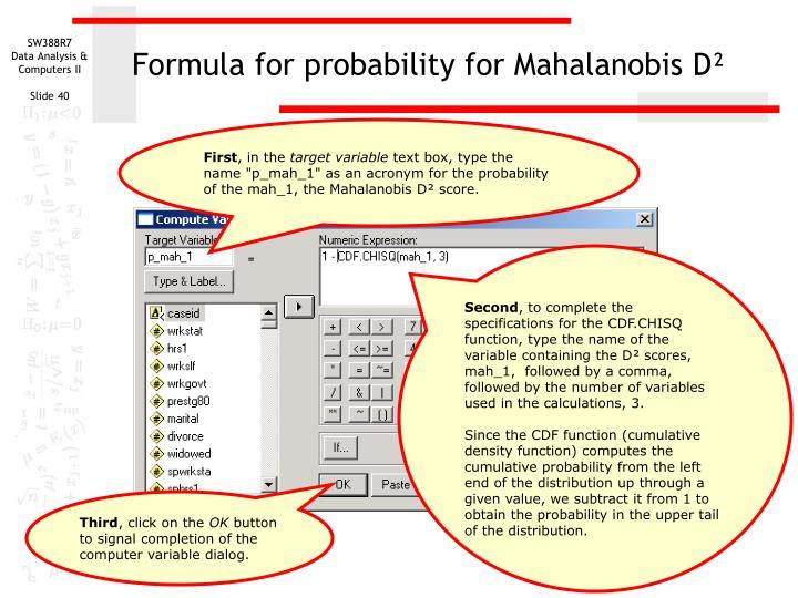 Formula for probability for Mahalanobis D²