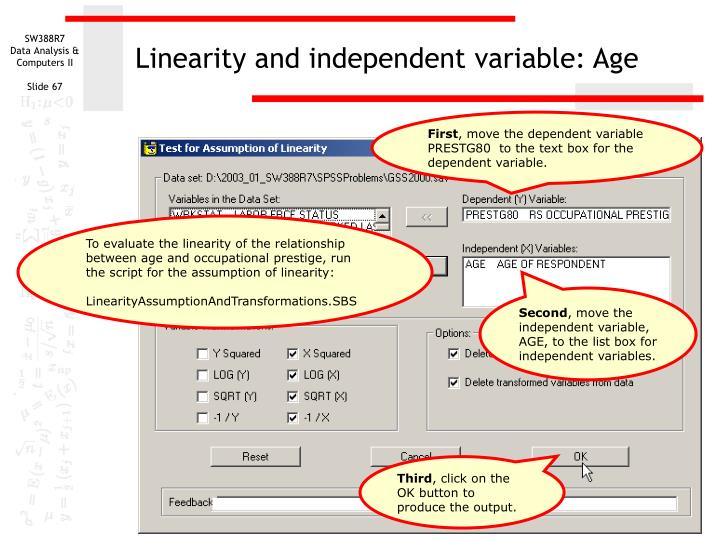 Linearity and independent variable: Age