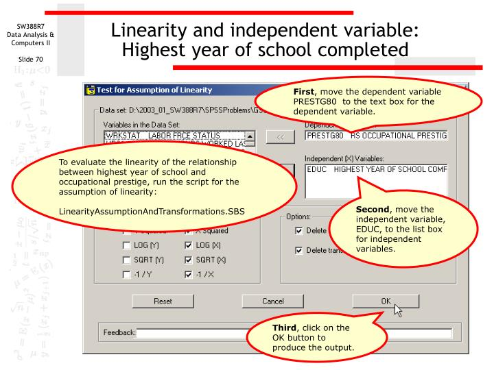 Linearity and independent variable:
