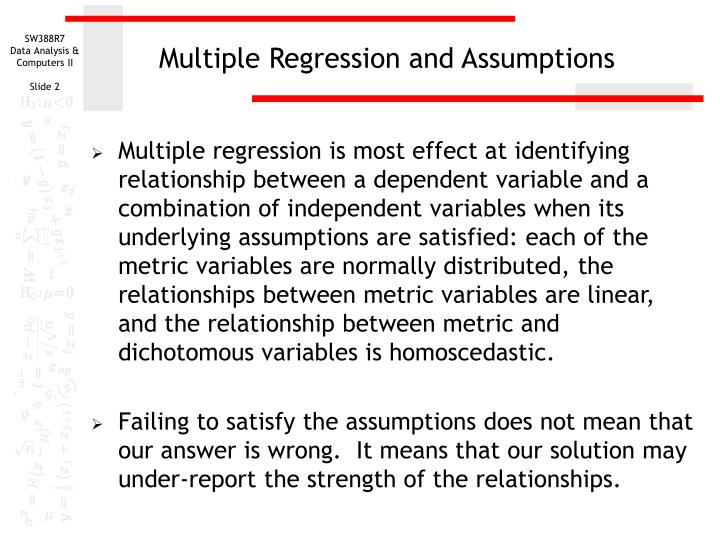Multiple regression and assumptions