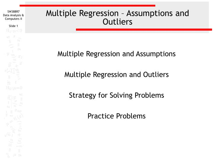 Multiple regression assumptions and outliers