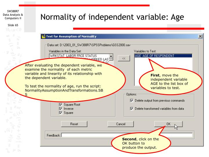 Normality of independent variable: Age