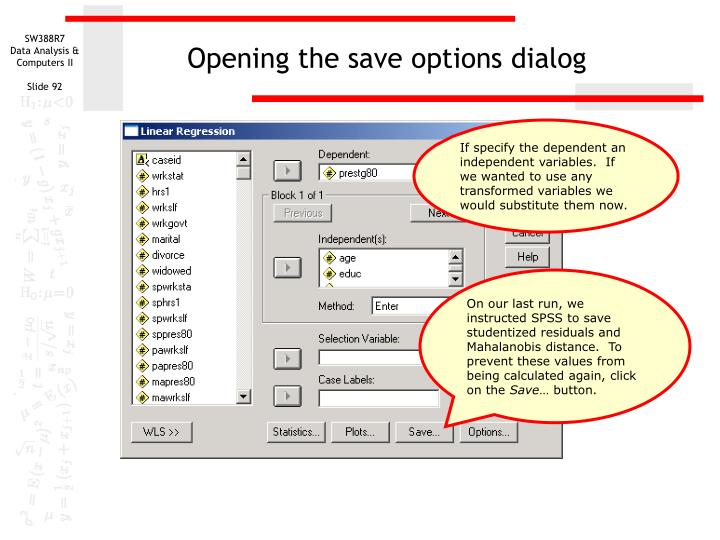 Opening the save options dialog