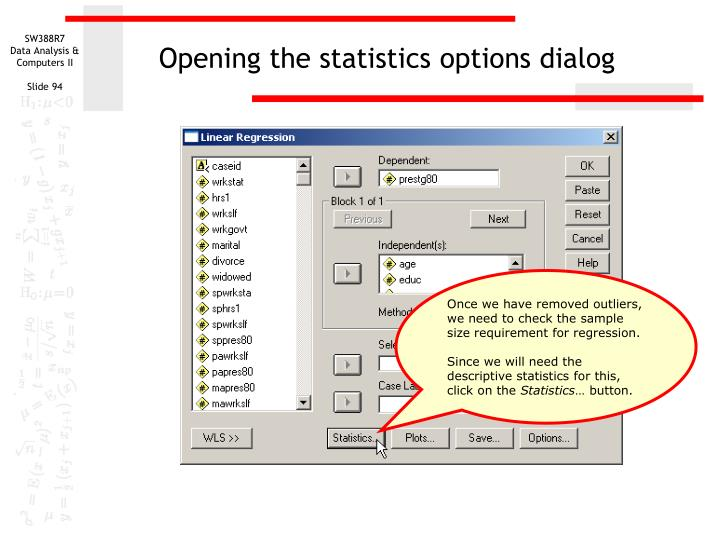 Opening the statistics options dialog