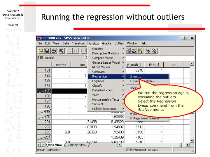 Running the regression without outliers