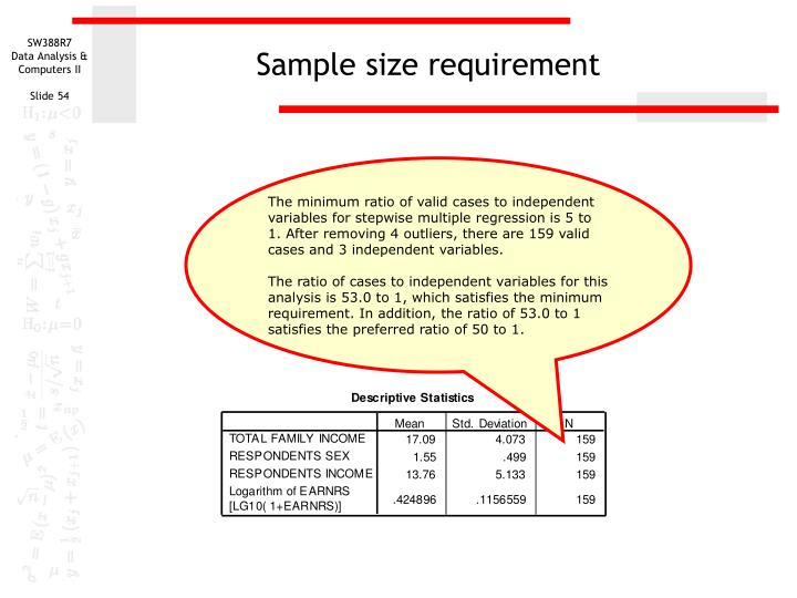 Sample size requirement