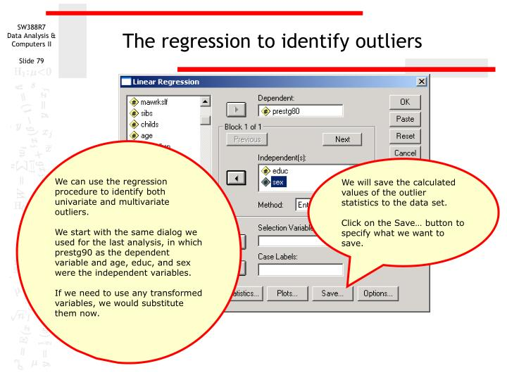 The regression to identify outliers