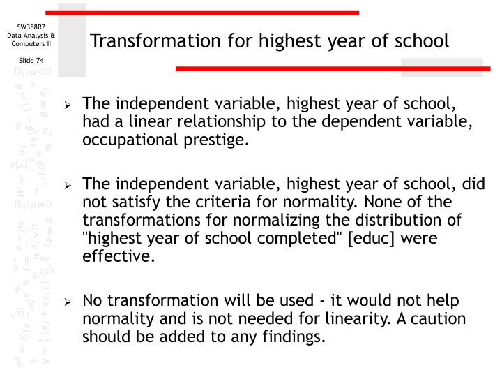 Transformation for highest year of school