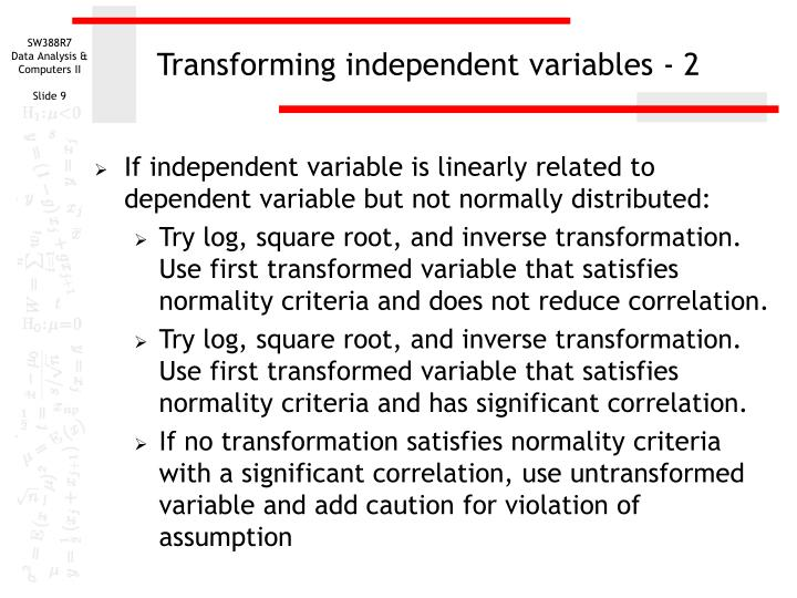 Transforming independent variables - 2