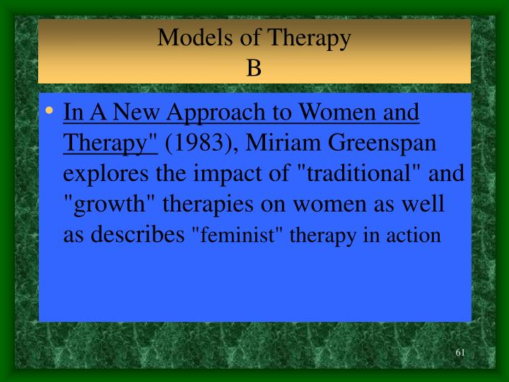Models of Therapy