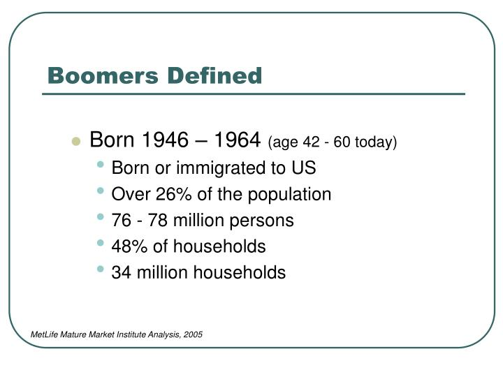 Boomers Defined
