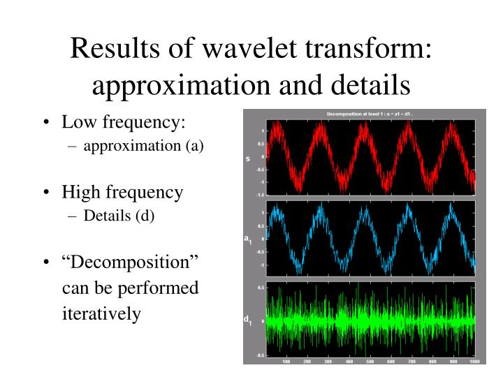 Results of wavelet transform: approximation and details