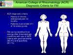 american college of rheumatology acr diagnostic criteria for fm