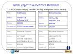 rdd repetitive debtors database