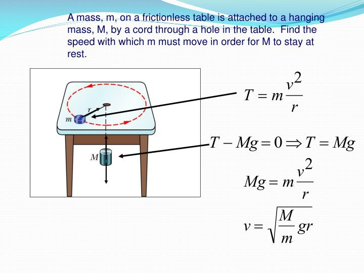 A mass, m, on a frictionless table is attached to a hanging mass, M, by a cord through a hole in the table.  Find the speed with which m must move in order for M to stay at rest.