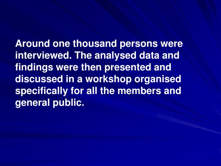 Around one thousand persons were interviewed. The analysed data and findings were then presented and discussed in a workshop organised specifically for all the members and general public.